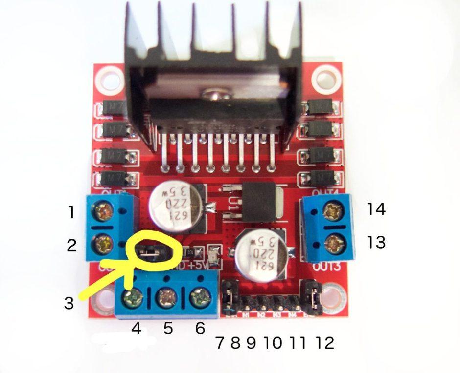 Sơ đồ chân của mạch điều khiển động cơ dùng IC cầu H L298N